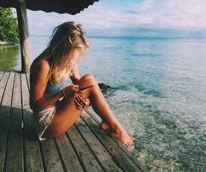girls, hair, and beach image