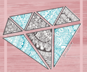 art, diamond, and pink image