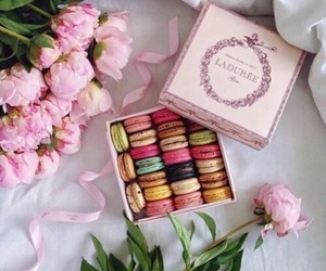 food, flowers, and ‎macarons image