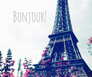 paris, hello, and flowers image