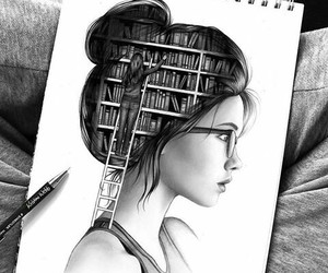 art, girl, and library image