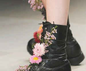 flowers, boots, and fashion image