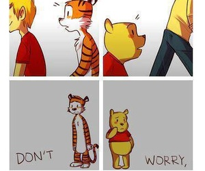 winnie the pooh, sad, and calvin and hobbes image