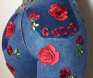chain, red flowers, and ass image