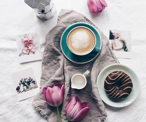 coffee, flowers, and donuts image