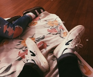 blanket, flower, and shoes image
