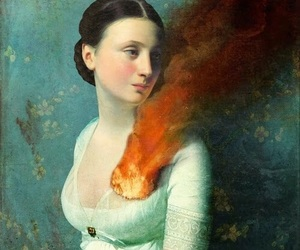 art, fire, and heart image