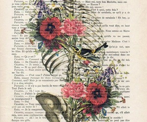 flowers, fliwers, and skull image