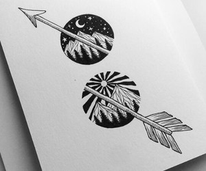 arrow, black and white, and draw image