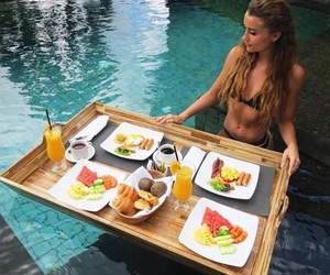 summer, girl, and breakfast image