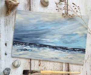 art, sea, and brush image