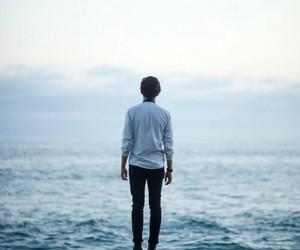 sea, boy, and beach image