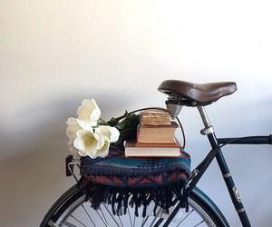bike, flower, and books image