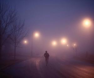 light, purple, and street image
