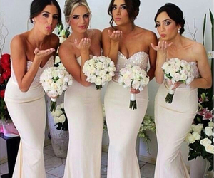 ivory bridesmaid dress, dress, and wedding image