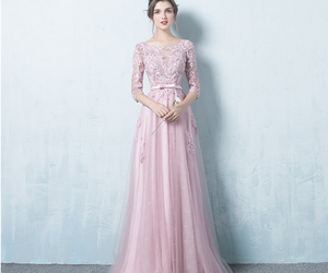 evening dress, lace dress, and pink dress image