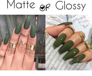 glossy, green, and matte image