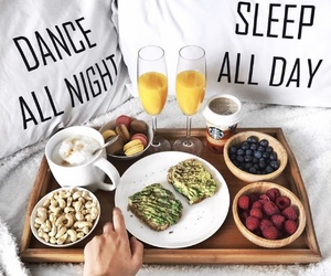 bed, drink, and food image
