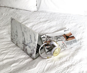 bed, magazine, and gold image