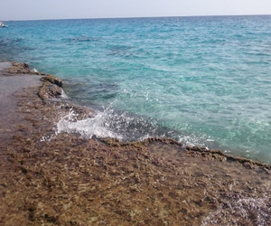 beach, blue water, and wanderlust image