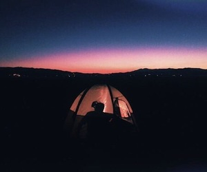 sky, camping, and sunset image
