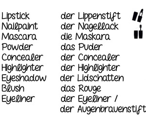 german, learn, and makeup essentials image