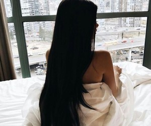 black hair, home decor, and long hair image