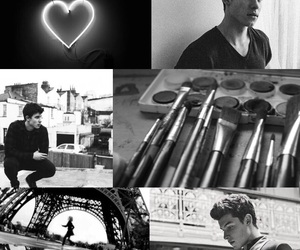 background, black and white, and shawn image
