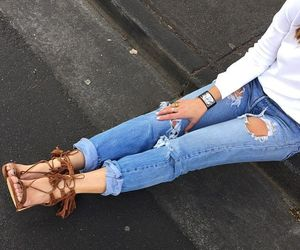 brown, white blouse, and denim image