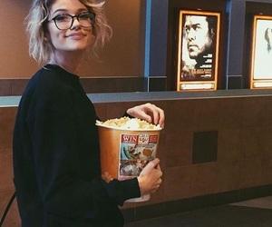 girl, popcorn, and cinema image