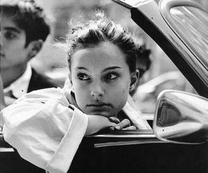 natalie portman, black and white, and car image