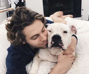 boy, dog, and 5 seconds of summer image