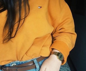 fashion, tommy hilfiger, and yellow image
