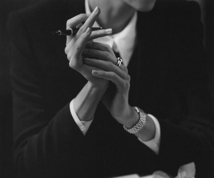 woman, black and white, and hands image