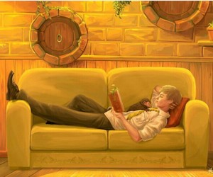 hogwarts, yellow, and common room image
