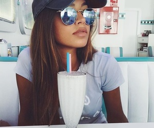 girl, drink, and glasses image