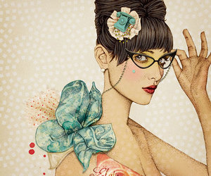 glasses, illustration, and woman image