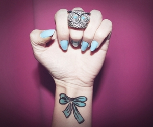 blue, nails, and owl image
