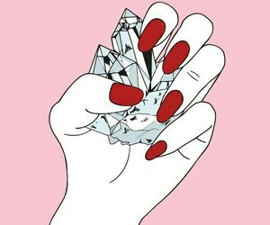 pink, nails, and diamond image
