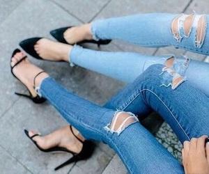 black heels, blue, and fashion image