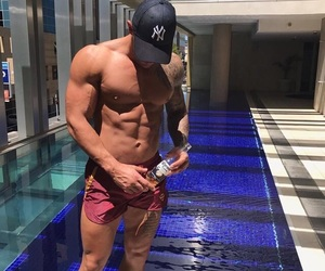 abs, pool, and hot guys image