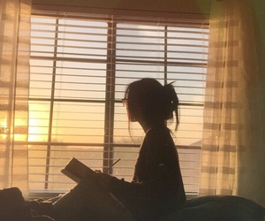 girl, book, and sunset image