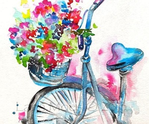 bike, flowers, and blue image