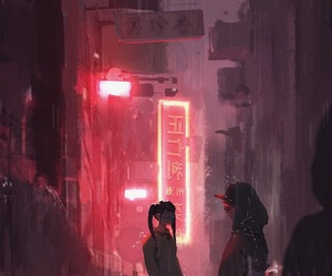anime, city, and red image