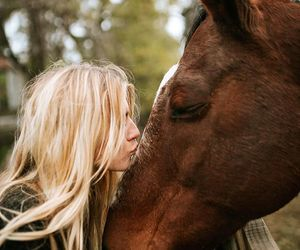 animals, girl, and horse image