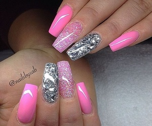 long nails, pink nails, and acrylic nails image