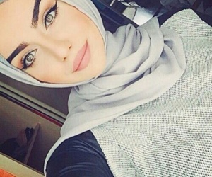 girl, hijab, and eyes image