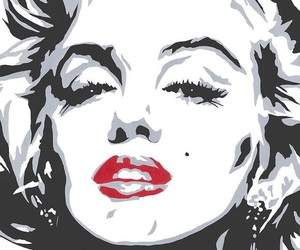 Marilyn Monroe and red lips image