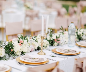 bridal, table setting, and wedding decor image