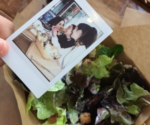 food, polaroid, and friends image
